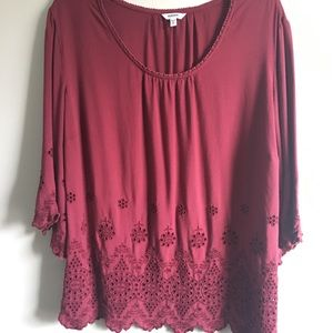 Sonoma Red Flared-sleeved shirt -1x